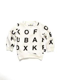 Alphabet Sweatshirt by Nununu at Gilt Little Boy Outfits, Little Boy Fashion, Kids Fashion, Outfits Niños, Kids Outfits, Toddler Boys, Baby Kids, Kid Styles, Baby Wearing