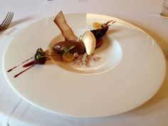 Chocolate mousse, figs, candied parsnip. Stewart Warner at the Hillbark.