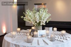 White Wedding Escort Card Table The Event Of A Lifetime, Inc.