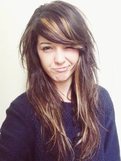 bold highlights brown hair side bangs - Google Search
