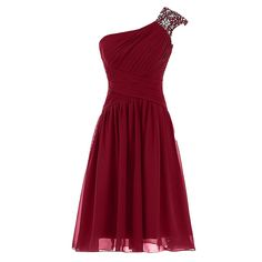 Cheap Homecoming Dresses, Crystal Beaded One Shoulder Ruched Short Prom Dress, A-line Knee Length Burgundy Prom Dress, Pleats Mini Chiffon Party Gowns Cheap Homecoming Dresses, Black Bridesmaid Dresses, Hoco Dresses, Pretty Dresses, Beautiful Dresses, Formal Dresses, Graduation Dresses, Sweetheart Prom Dress, Dress Silhouette