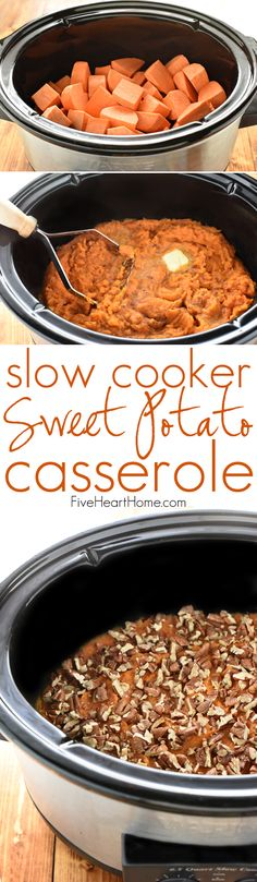 Slow Cooker Sweet Potato Casserole ~ lightly sweetened with maple syrup and topped with toasted pecans, this effortless crock pot recipe is a delicious Thanksgiving side dish that frees up the oven! Crock Pot Slow Cooker, Crock Pot Cooking, Slow Cooker Recipes, Crockpot Recipes, Cooking Recipes, Crock Pots, Crockpot Side Dishes, Thanksgiving Side Dishes, Thanksgiving Recipes