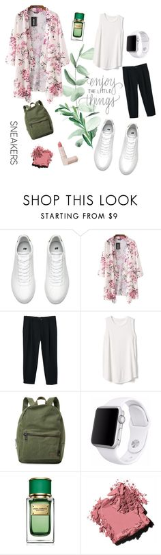 """""""Enjoy The Little Things"""" by azlindaml ❤ liked on Polyvore featuring MANGO, Gap, Herschel Supply Co., Apple, Dolce&Gabbana, Bobbi Brown Cosmetics and Lipstick Queen"""