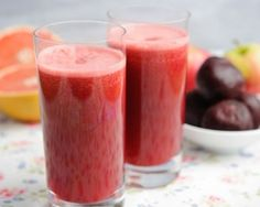 Beetroot, Pink Lady and Grapefruit Juice recipe by Pink Lady Apples. Serves Find more great Juice recipes at Kitchen Goddess. Chia Seed Smoothie, Juice Smoothie, Vitamix Juice, Juicer Recipes, Smoothie Recipes, Detox Drinks, Healthy Drinks, Healthy Juices, Healthy Food