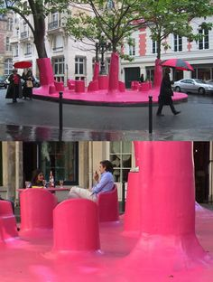 This is strikingly similar to what Christos did with the Pink Islands on Biscayne Bay back in the 80's. The Pink Ghost project by Périphériques Architects is a temporary installation that makes an argument about the use of public space.