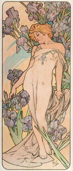 "womeninarthistory: ""Les Fleurs-The Iris, Alphonse Mucha """