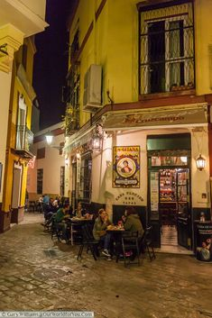 SPAIN / ANDALUSIA / Places, towns and villages of Andalusia - A small place that became a favourite of our Casa Placido tapas bar, Seville, Spain Backpacking Spain, Places To Travel, Places To Visit, Seville Spain, Cities, You Are The World, Spain Travel, Night Life, Beautiful Places