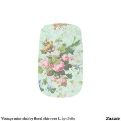 Vintage mint shabby floral chic rose flower pattern minx® nail wraps