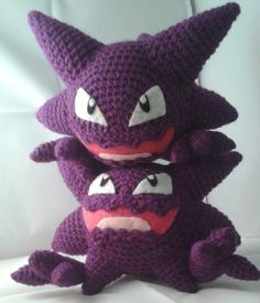 Crochet haunters I made. Original pattern, not for sale. #Pokemon #Haunter #Ghost #Ghosttype #Gen1 #Pokedoll #PokemonPlush