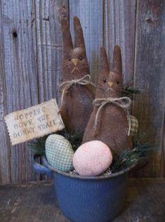 Primitive Handmade Easter/Spring Decoration - Bunnies & Eggs in Graniteware Pot