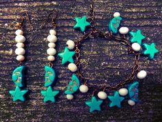 Plumeria Moon and Star Earrings and Bracelet in Turquoise.   https://www.facebook.com/plumeriajewelry