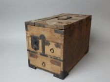 6km Japanese Antique Wood Suzuri Bako Tansu Kodansu Furniture Drawer Box Hatch
