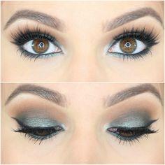 Jaclyn Hill Morphe Palette Looks on Brown Eyes Green Smokey Eye