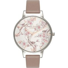 Olivia Burton OB16PL31 Women's Parlour Leather Strap Watch (€95) ❤ liked on Polyvore featuring jewelry, watches, floral jewelry, olivia burton jewellery, pin jewelry, roman numeral wrist watch and floral jewellery