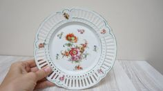 Beautiful Retro vintage lace effect porcelain plate with flower print.  #dishes#tableware#service, kitchenware,plate,cup,glass,porcelain