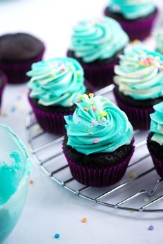 {My Favourite} Chocolate Party Cupcakes with Vanilla Swirl Frosting