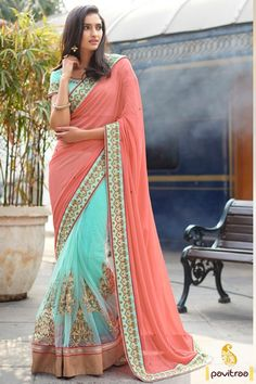 Get a majestic royal look with embroidery stone work gajri sky color party saree online in reasonable rate. Buy beautiful wedding sarees at wholesale and retail prices. #saree, #designersaree more: http://www.pavitraa.in/store/designer-collection/