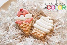 Soft Serve Ice Cream Cone Cookie // CookiesInColor