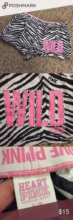 VS PINK Boxer Shorts Size S. No stones missing Victoria's Secret Intimates & Sleepwear Pajamas