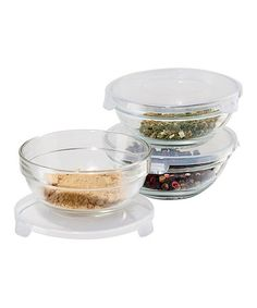 Take a look at this Clear Pinch-Lid Bowl - Set of Three by OGGI on #zulily today!