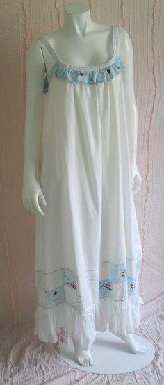 Items similar to SALE on Sweet 'winter birds' Ladies full length cotton nightgown with eyelet trim,ruffles patchwork and more ruffles in sizes and on Etsy Cotton Nighties, Future Clothes, Nightgowns, Ruffles, Stitches, Upcycle, Cold Shoulder Dress, Feminine, Tunic Tops