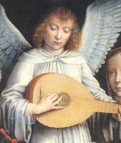 Gérard David, Ange musicien, détail, 15e siècle.