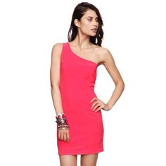 bd785a0a18955 Coral Red Asymmetric One Shoulder Bandage Dress S A sexy form fitting  bodycon dress with ribbed texture
