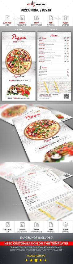 #Pizza Menu / Flyer - #Restaurant #Flyers Download here: https://graphicriver.net/item/pizza-menu-flyer/15367076?ref=alena994