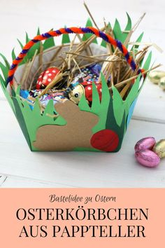 Craft Idea for Easter: Paper Easter Bowls and Ideas for an Easter Gift (incl - Basket Easter Photo Frames, Kids Hairstyles For Wedding, Basket Crafts, Kids Corner, Easter Gift, Spring Crafts, Easter Baskets, Paper Plates, Diy For Kids