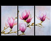 Pink flowers 3 panel painting triptych