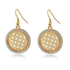 Vintage Big Round Flower Drop Earrings For Women Crystal Earrings