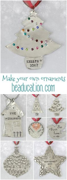 DIY Christmas Ornaments - Make your own personalized Christmas ornaments for gifts or tree decoration. Customize each gift / ornament with a little something special for Christmas. Thoughtful DIY Christmas gifts are so appreciated, especially personal keepsakes like these super cute decorations. PLUS we have tons of free classes to help you learn the art of metal stamping - quick, easy and fun! Learn for free: www.beaducation.com/stamping
