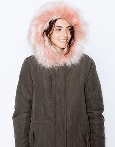 Pull&Bear - mujer - novedades - ropa - parka microfibra capucha pelo - kaki oscuro - 09750316-I2016