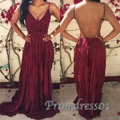 Cute backless prom dress, ball gown, 2016 wine red chiffon long evening dress with straps #coniefox #2016prom