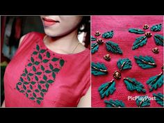 Simple Hand Embroidery Designs, Basic Embroidery Stitches, Hand Embroidery Videos, Bead Embroidery Patterns, Beaded Embroidery, Kurti Embroidery Design, Hand Embroidery Flowers, Hand Work Embroidery, Embroidery Fashion