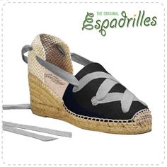 Espadrilles Black with Grey Laces #espadrilles #summer2016 #vintageshoes