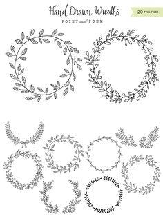 Hand-drawn Wreaths Black & White - https://www.designcuts.com/product/hand-drawn-wreaths-black-white/