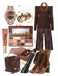 """""""Chocolate Colour"""" by flippintickledinc ❤ liked on Polyvore featuring Iris & Ink, Chloé, Too Faced Cosmetics, Dorothy Perkins, Louis Vuitton, LeVian, Rolex, MooMoo Designs and Surratt"""