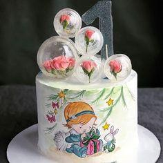 New birthday cake flower fondant bridal shower Ideas Pretty Cakes, Cute Cakes, Beautiful Cakes, Amazing Cakes, Fondant Flower Cake, Cupcake Cakes, Bubble Cake, New Birthday Cake, Hand Painted Cakes