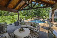 cozy outdoor entertaining  #outdoor #patio #pool #entertain #design #furniture #summer