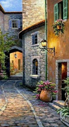 Best Ideas For Landscape Art Oil Watercolor Landscape, Landscape Art, Landscape Paintings, Watercolor Paintings, Painting Art, Italy Painting, Flower Landscape, Beach Landscape, Forest Landscape