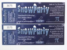 ticket bedrukken snowparty Ticket, Social Security, Dj, Personalized Items, Cards, Organization, Maps, Playing Cards