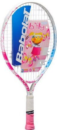 """Babolat B'fly 100/19'' Pink Junior Tennis Racquet. For Junior Players 35"""" to 39""""tall by Babolat. $39.95. Suited for ages 2+ and juniors approximately 35""""-39"""" tall.. Weight: 5.5 oz.. Grip Size: 3-5/8"""". Length: 19 in.. Memo Grip. The Babolat B'Fly 100 is a 19 inch aluminum junior racquet with graphics inspired by butterflies"""