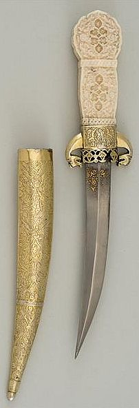Ottoman dagger, 16th century, curved steel blade with gold, ivory handle. Measurement 33.4 cm, blade length 20.1 cm, weight 284 g, The Staatliche Kunstsammlungen Dresden (Dresden State Art Collections).