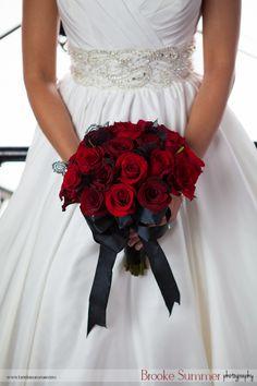 Denver clock tower wedding, red and black bouquet http://www.brookesummer.com