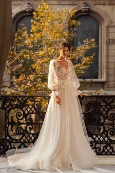 Blue Wedding Dresses, Bridal Dresses, Floral Dress Wedding, Parisian Wedding Dress, Backless Wedding, Timeless Wedding, Marie, Puff Sleeves, Floral Lace