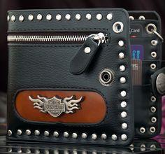 New Brand Men's Tough Punk Studded Metal Decoration Black Leather Wallet