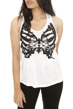 Tops | Clothing-Teenage Runaway Butterfly Skeleton Zip White Tank Top-Hot Topic