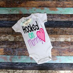 FREE SHIPPING***Hooked On Mommy,Baby Bodysuit,Infant,Youth,Girls Shirt,Mommy And Me,Fishing,Mothers Day,New Baby Gift,Baby Shower Present by SweetSouthernCraftCo on Etsy