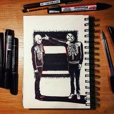 We've turned our hands to guns . . . #clique #cliqueart #skeletonclique #twentyonepilots #twentyonepilotsfanpage #tøp #tylerjoseph #joshuadun #blurryface #gunsforhands #twentyonepilotsblurryface #fandom #art #artist #artwork #sketch #sketchbook #sketching #red #pencil #doodle #illustraition #graphic  #style #instalike #instaart #instaartist